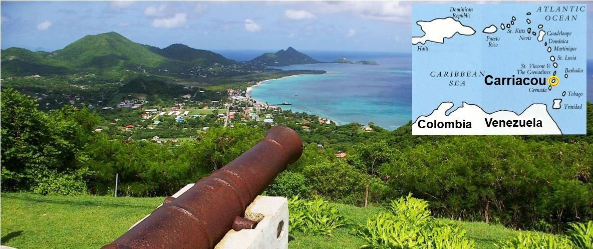 Carriacou island in the Caribbean Sea