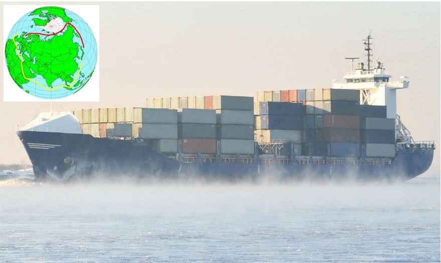 Container ship transporting goods along the Northern Sea Route