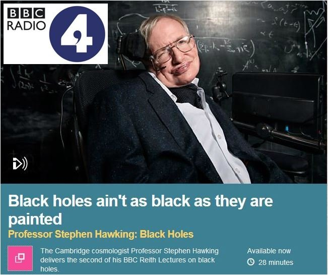 Prof Hawking second Reith Lecture on Radio 4 BBC