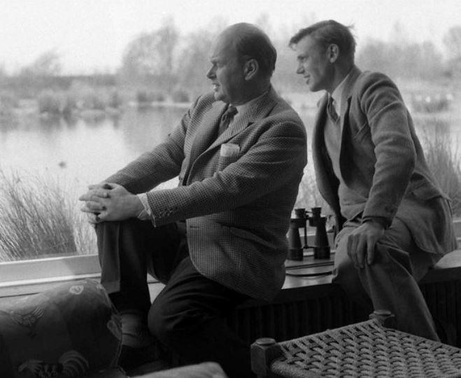 Sir Peter Scott with Sir David Attenborough at Slimbridge