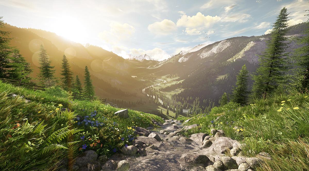 Sunset Meadow – Created with Amazon Lumberyard
