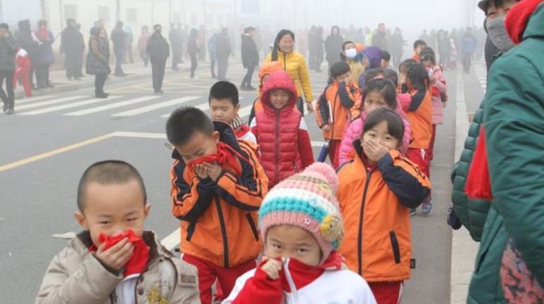 Beijing smog children