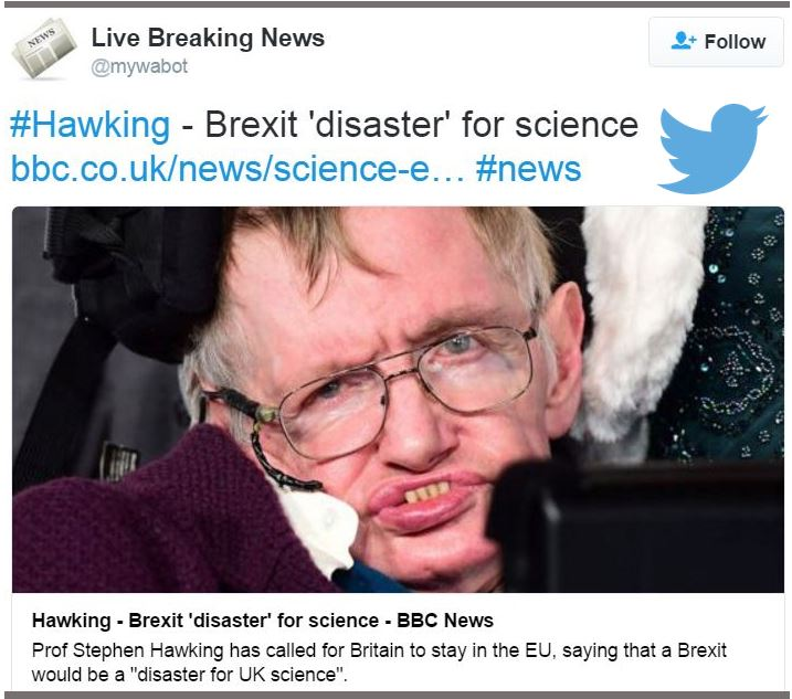 Brexit disaster for British science letter warns