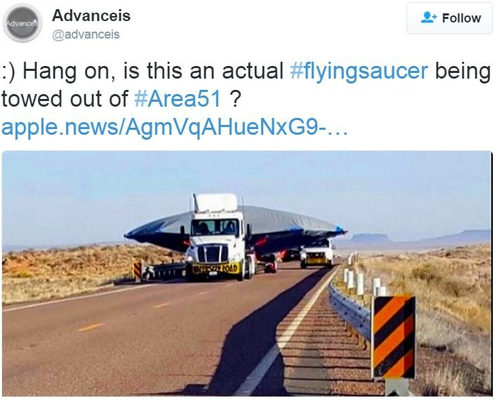 Flying saucer being towed out of Area 51