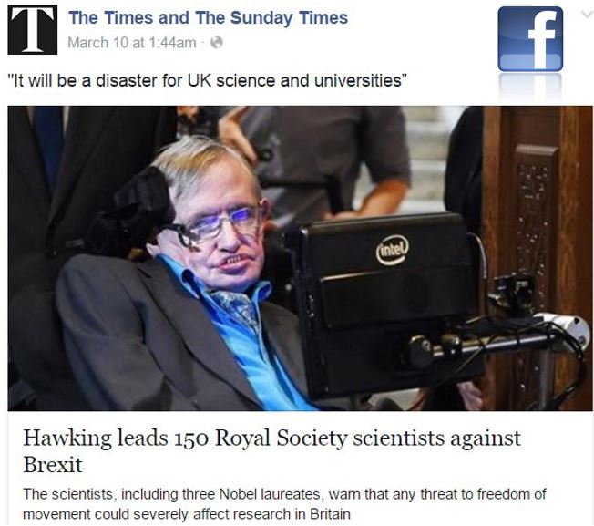 Hawking and scientists in Brexit warning