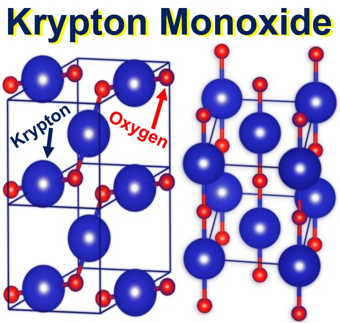 Kryptonite in form of krypton monoxide
