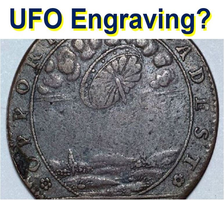 UFO engraving in old French coin