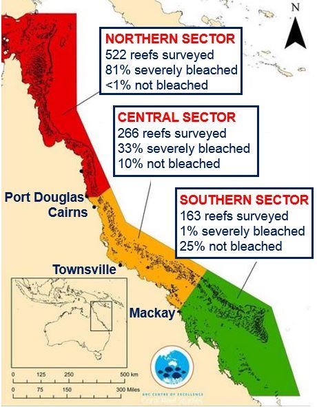 Bleaching on Great Barrier Reef