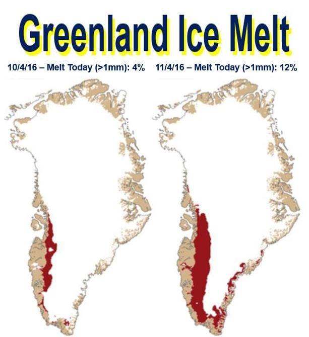 Greenland ice melt two days
