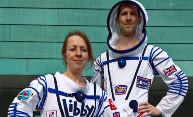 Marathon wearing space suit