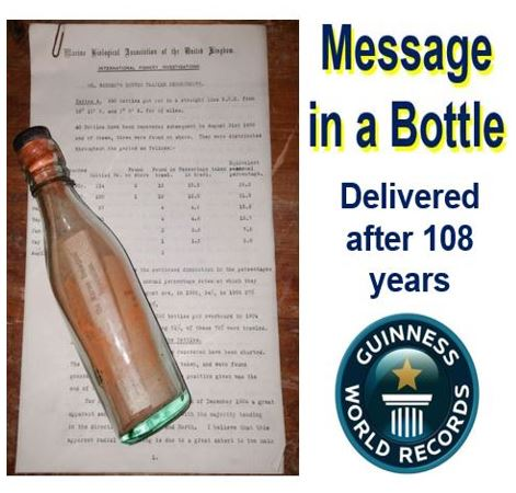 Message in a bottle arrives 108 years later