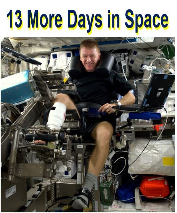 Tim Peake to spend 13 more days in space