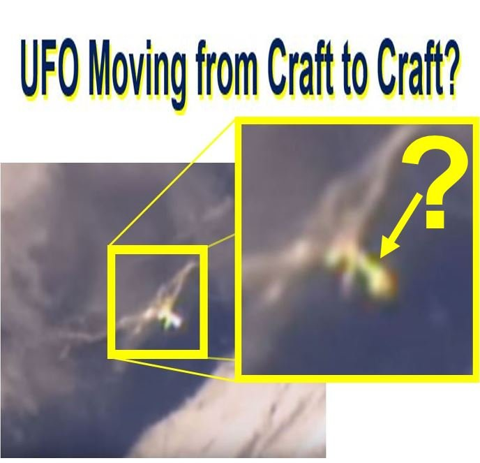 A UFO jumping from craft to craft