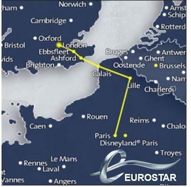 Eurostar routes Europe