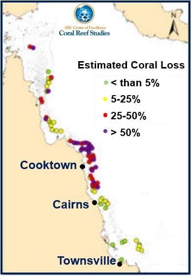Map of coral mortality estimates