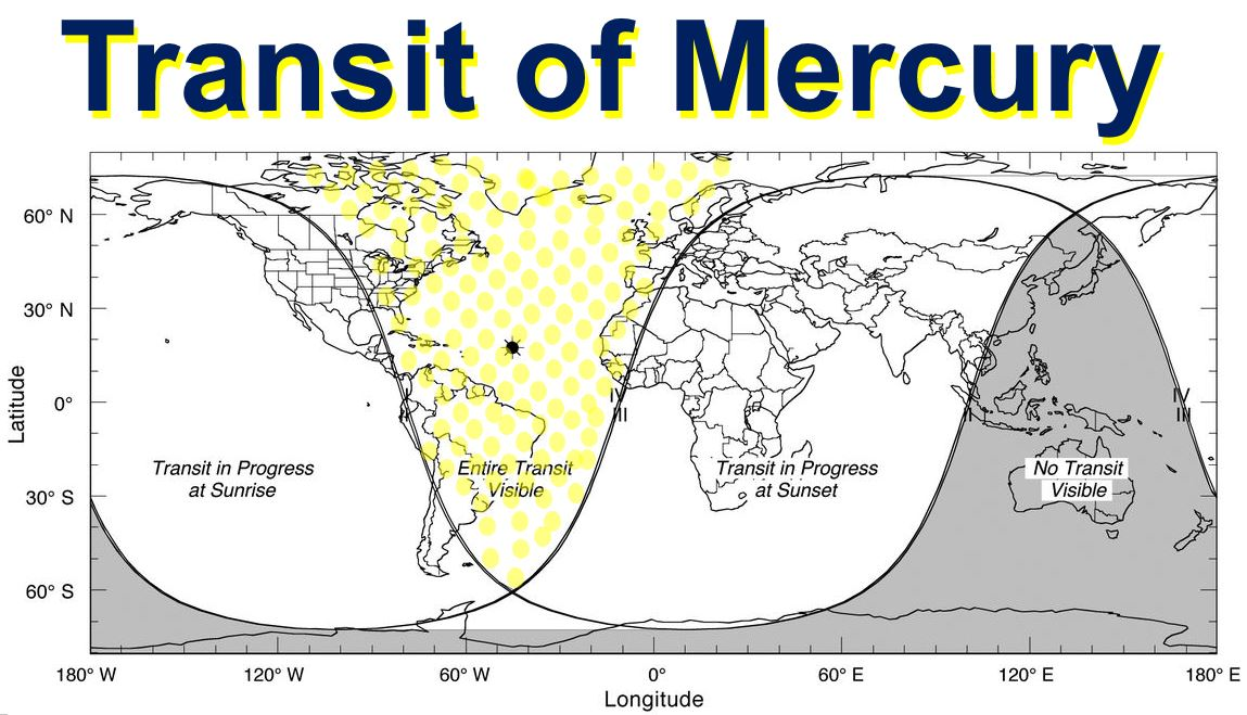 Transit of Mercury locations on Earth to watch it