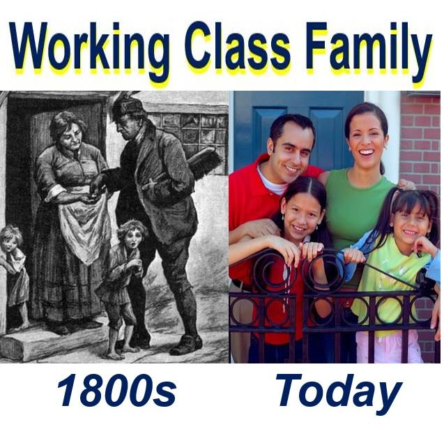 Working class family 1800s and today