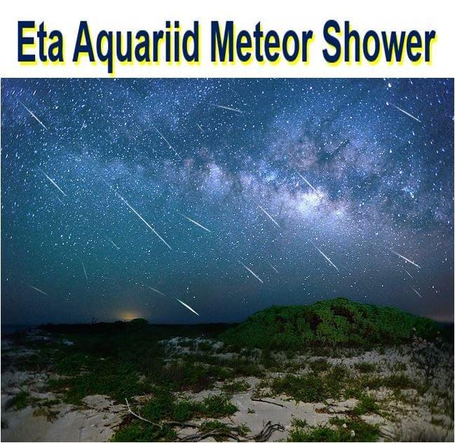 shooting stars from eta Aquariid meteor shower