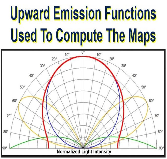 Light pollution map upward emission functions