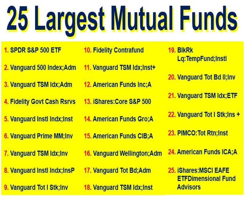 25 Largest Mutual Funds