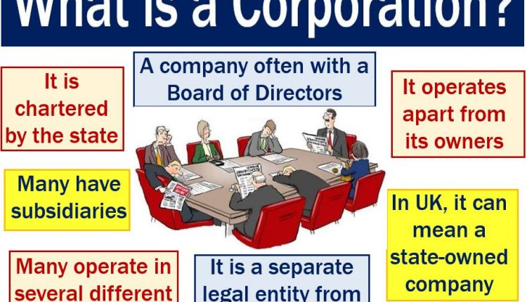 Corporation - image with list of features