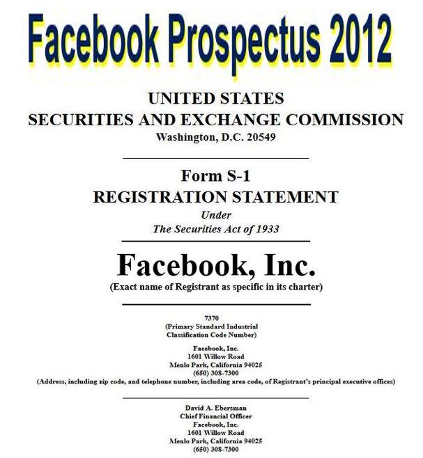 Facebook prospectus 2012