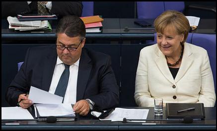 Sigmar Gabriel with Angela Merkel