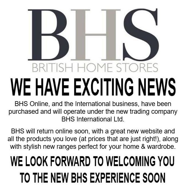 BHS British Home Store online announcement