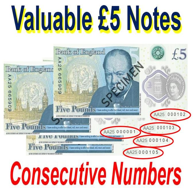 £5 notes with consecutive numbers