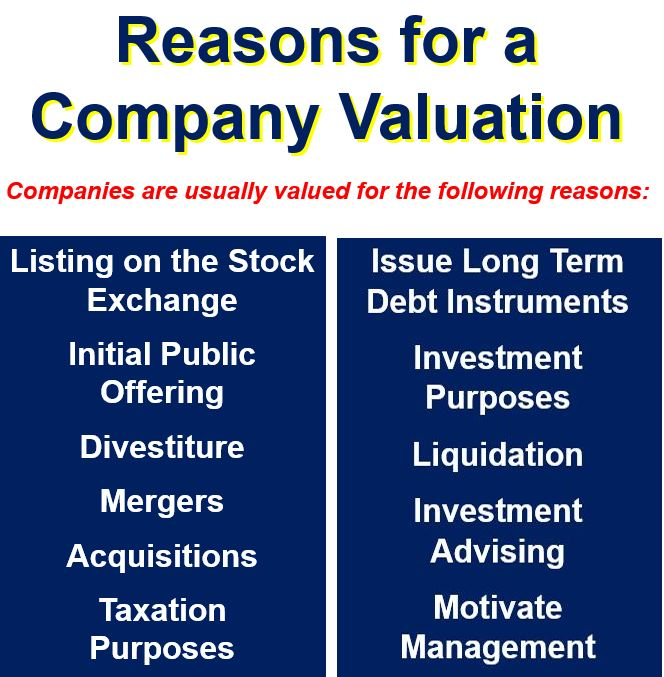 Reasons for a company valuation