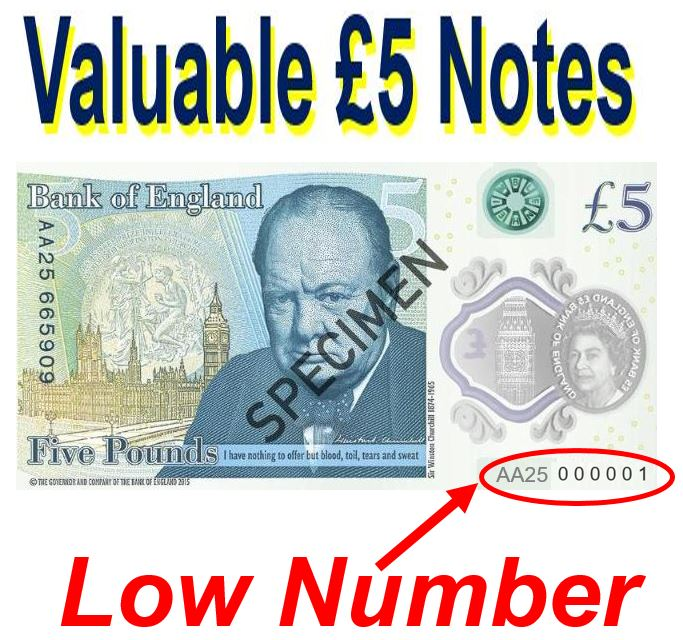 Valuable £5 notes