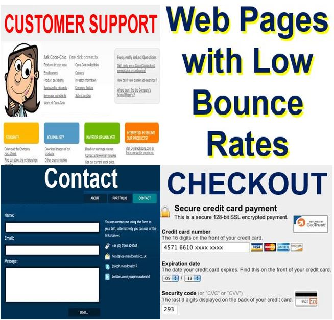 Web pages with a low bounce rate