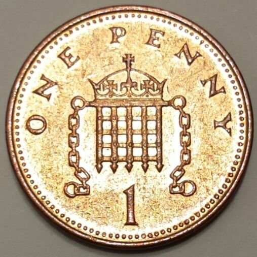 British one penny coin.