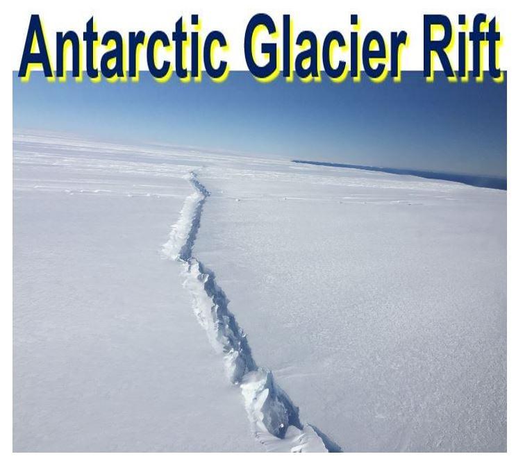 Antarctic glacier rift