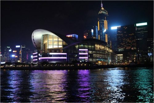 Hong Kong's financial services sector Central night view