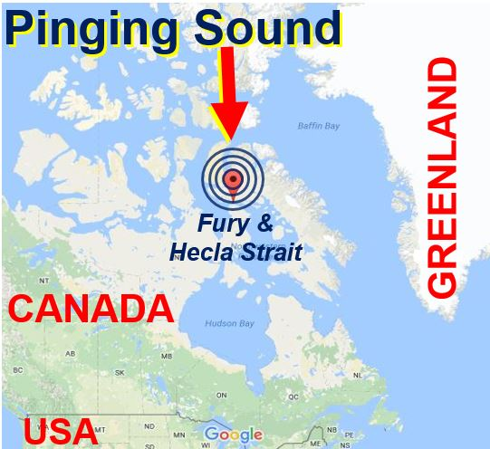 Map showing location of pinging sound
