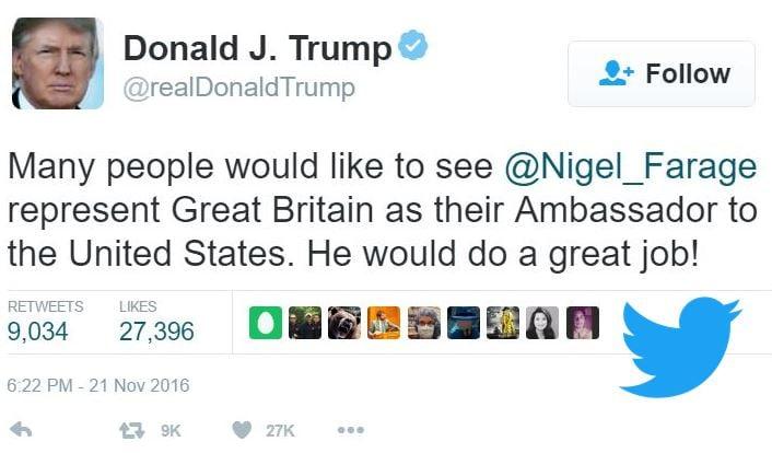 Trump tweet for Farage as Ambassador