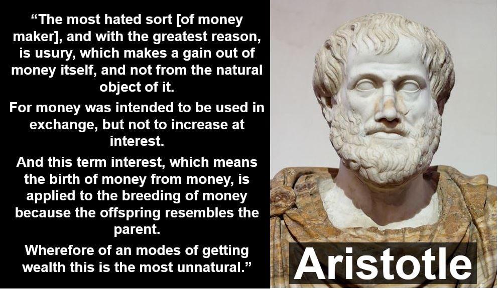 Aristotle usury quote