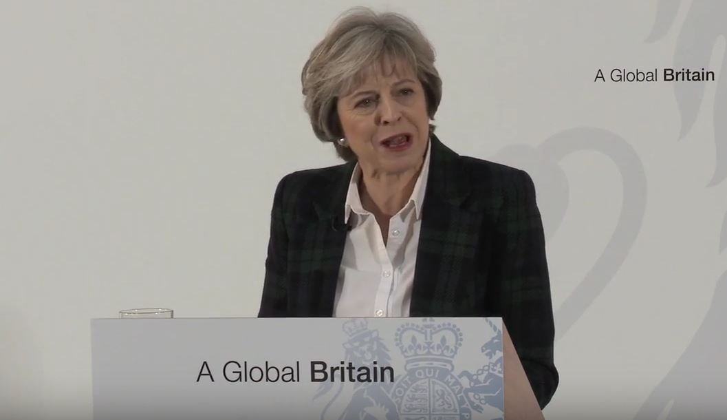 Theresa May delivering Brexit speech