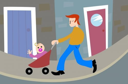 flexible working - father pushing baby in puschair