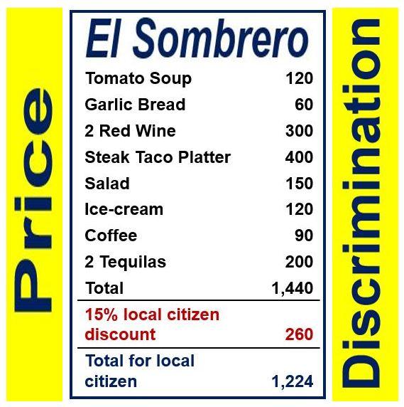 Price discrimination restaurant