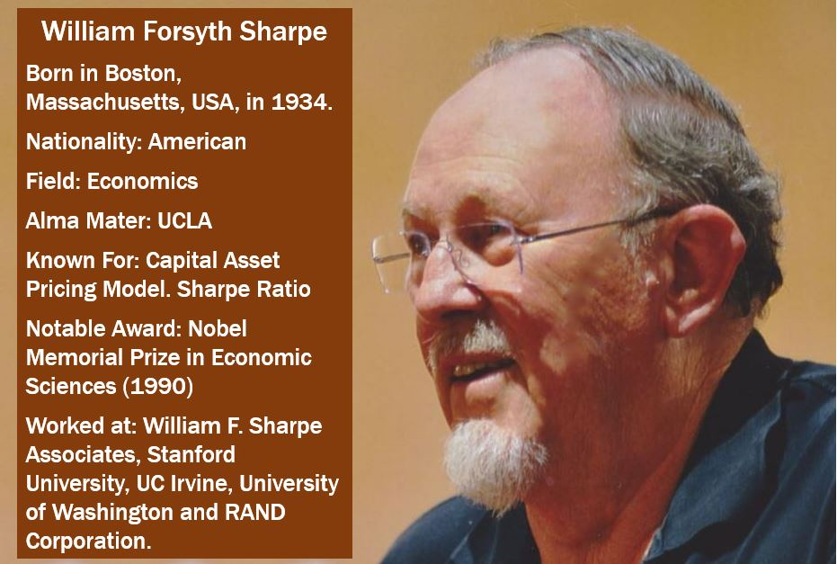 Willia Forsyth Sharpe - after whom Sharpe ratio was named