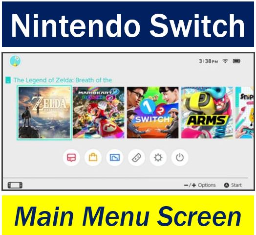 Nintendo Switch - Main menu screen
