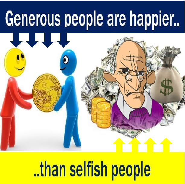 Generous people are happier than selfish individuals ...