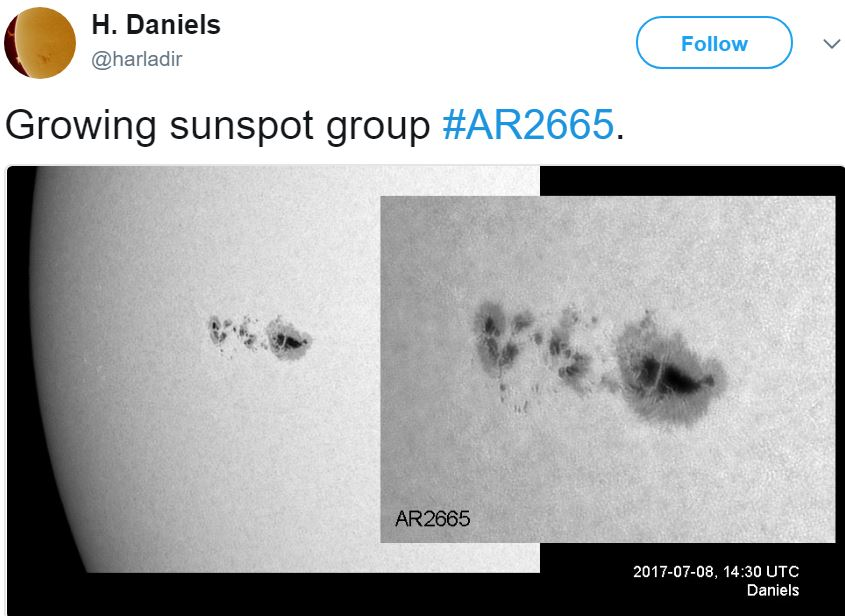 Giant sunspot image as it grows