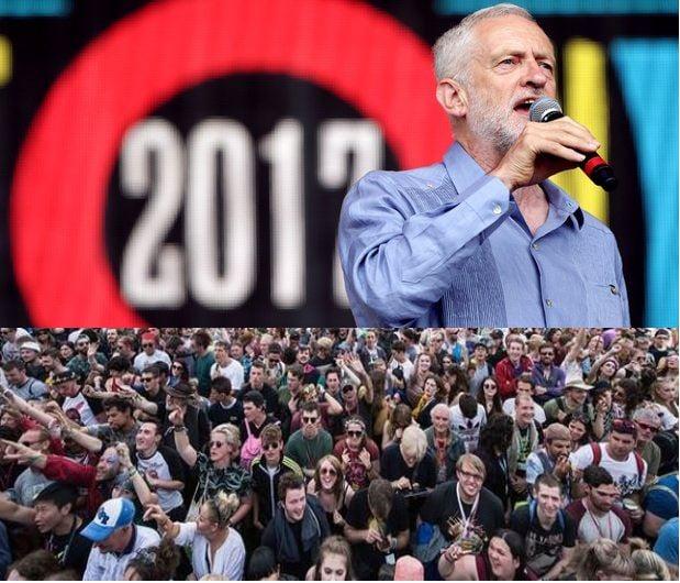Jeremy Corbyn at the Glastonbury Festival