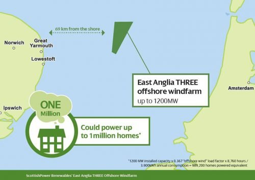 offshore wind farm - East Anglia THREE map