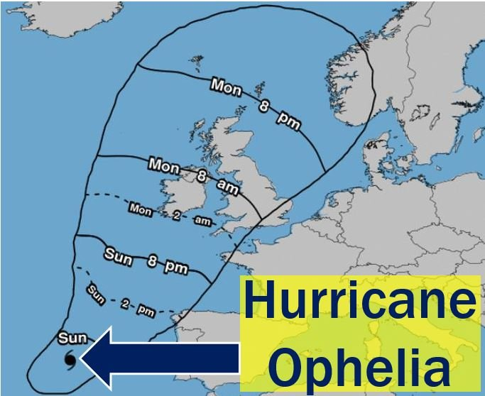 Hurricane Ophelia on way to British Isles