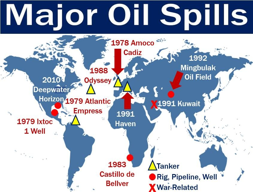 Oil spill history - image showing major ones on map