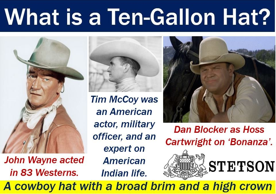 Ten-gallon hat - definition and three actors wearing one